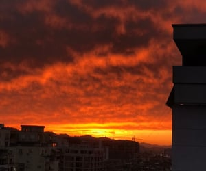 city, fire, and sky image