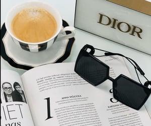 sunglasses, coffee, and dior image