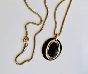 black and gold, vintage jewelry, and pendant necklace image