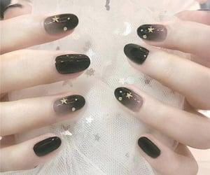 black, nail, and stars image