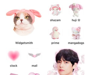 cat, v, and taehyung image