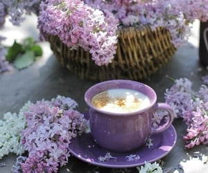 purple, coffee, and flowers image