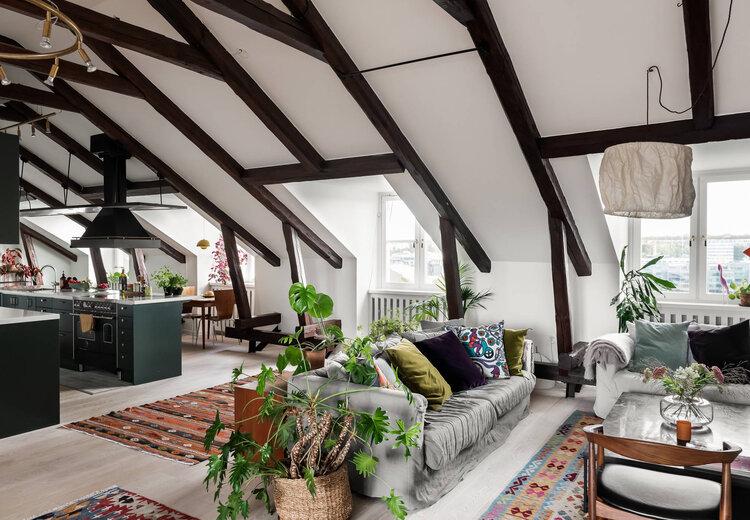 apartment, beams, and bright image