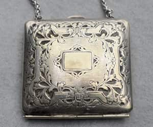 silver plated, chatelaine purse, and etsy image