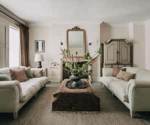 living space, symmetry, and muted pink + green image