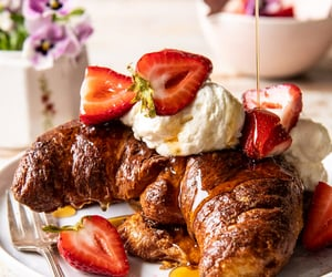 croissants, food, and french toast image