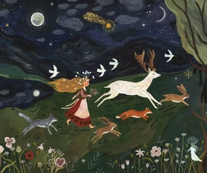 fairy tale, forest, and fox image