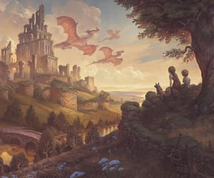 castle, children, and dragon image