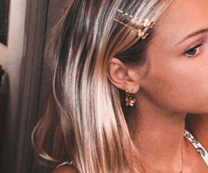 blonde, details, and earings image