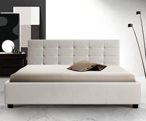 bed frame, bedding, and queen bed image