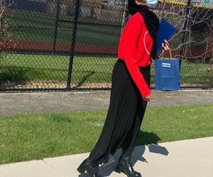 black boots, hijâbi, and black skirt image