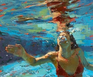 art, painting, and pool image