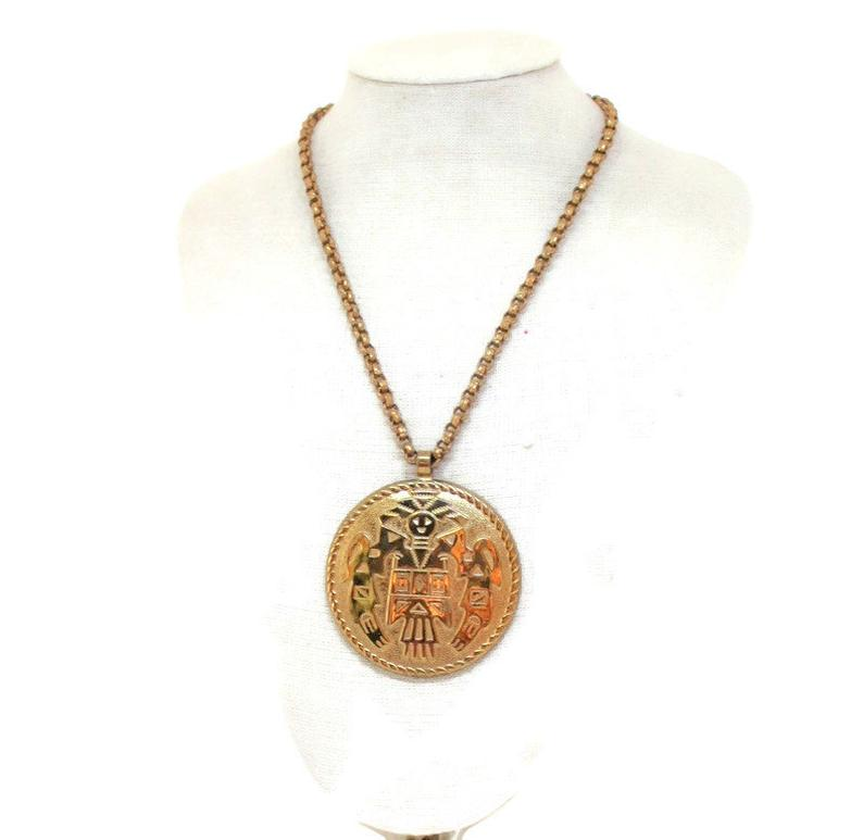 american indian, vintagejewelry, and medallion necklace image