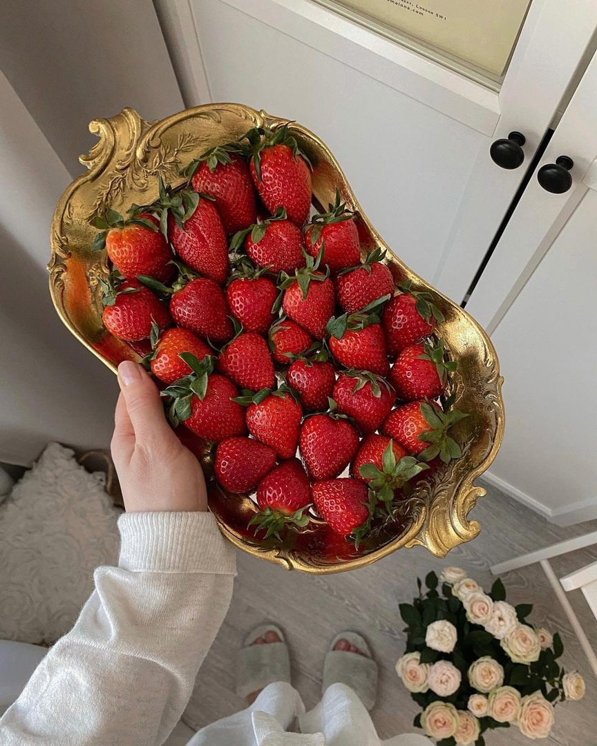 flowers, gold, and strawberry image