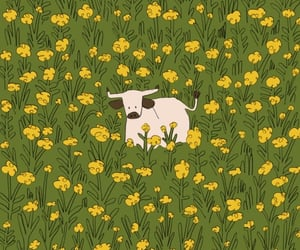 yellow, cow, and green image