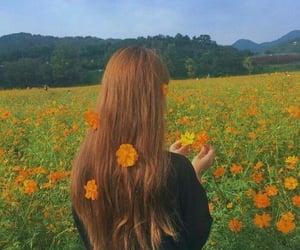 flowers, orange, and girl image
