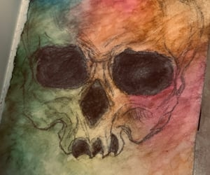 painting, sketch, and skull image