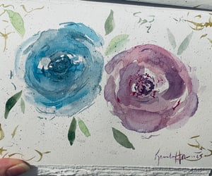 painting, roses, and watercolor image