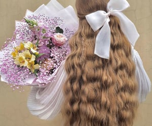 curls, hair, and flowers image