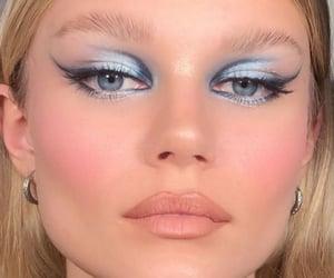 blue eyes, eyeliner, and eyeshadow image