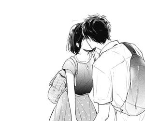 manga, black&white, and couple image