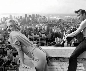 50's, black and white, and elvis image