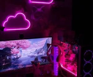pink, gaming setup, and desk setup image