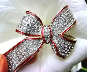 etsy, gold plated, and rhinestone bow image