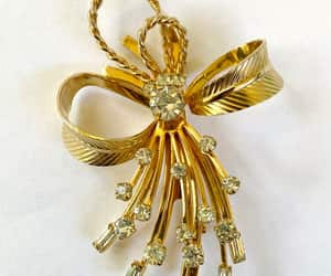 etsy, bow brooch, and rhinestone jewelry image