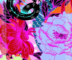 floral, pretty, and neon image