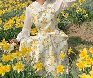 dress, flowers, and yellow image