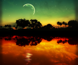 moon, sky, and water image