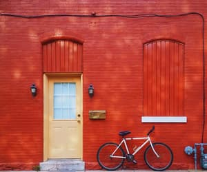 bicycle, red, and door image