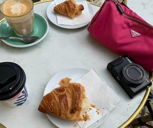 cappuccino, coffee, and croissants image