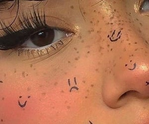 aesthetic, eyeliner, and freckles image