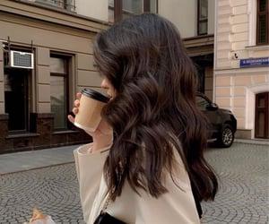 coffee, hair, and girl image