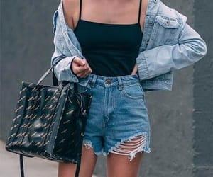 denim, denim jacket, and shorts image
