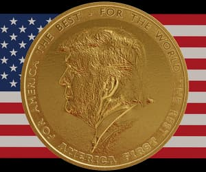 gold coin and donald trump coin image