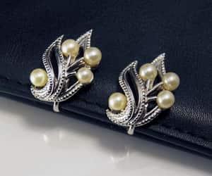 Crown Trifari Pearl Leaf Clip On Earrings Vintage Jewelry image 0