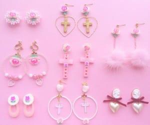 earrings, hearts, and hoops image