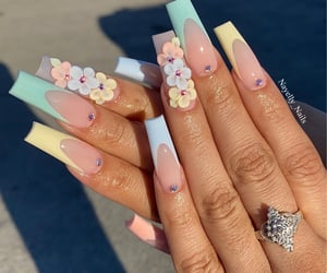 flower, pastel, and coffin nails image