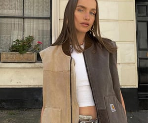 street style, everyday look, and brown vest image