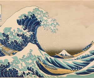 art, waves, and japan image