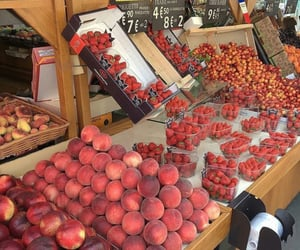 food, peach, and fruit image