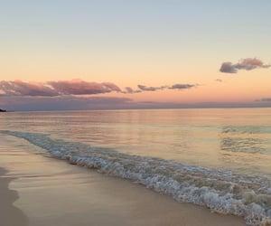beach, sea, and sunset image