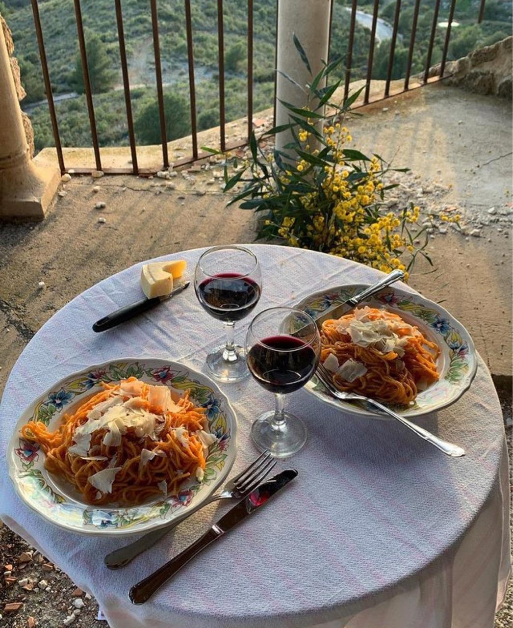 food, pasta, and wine image