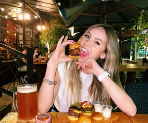 food, lady, and mirror selfie image