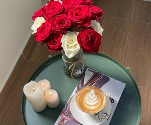 cafe, candles, and flowers image