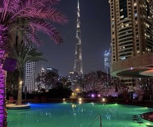 Dubai, night, and palms image