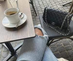 chanel, chanel bag, and coffee image